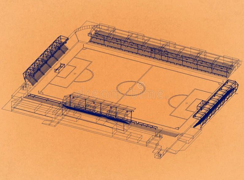 Fußballstadion - Retro- Architekt Blueprint stockfoto