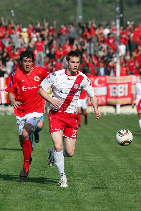 Fußballstadt Derby FK Velez Mostar V HSK Zrinjski M lizenzfreies stockbild