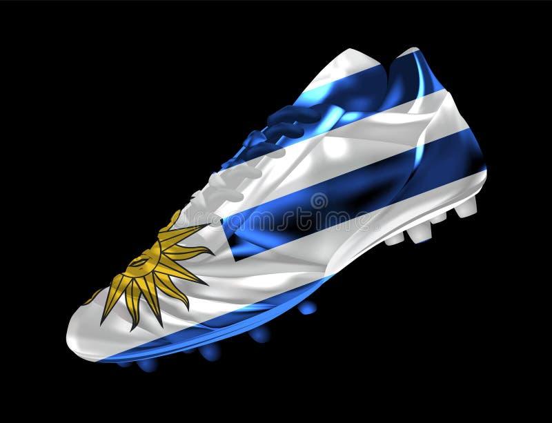 Fußballstiefel des Fußballs 3d mit Druck der Flagge von Uruguay lizenzfreie abbildung