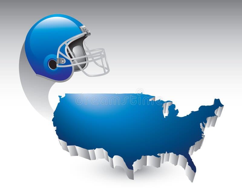 Fußballsturzhelm über Staat-Ikone vektor abbildung