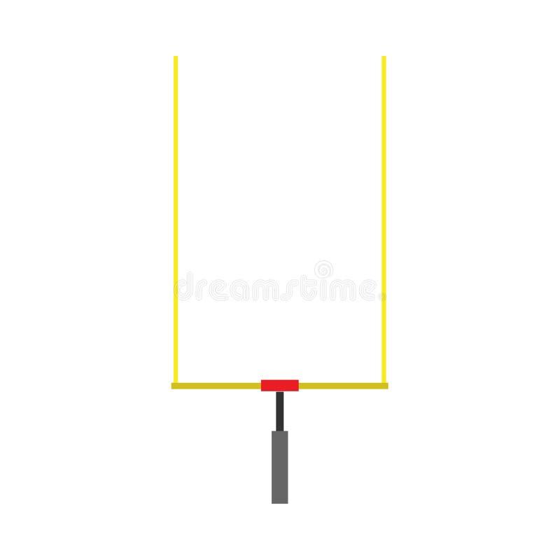 Fußballtorpfostenausrüstungsvektor-Ikonenentwurf Vorderansicht des Meisterschaftsspielturnierfußballbrettstadions lizenzfreie abbildung