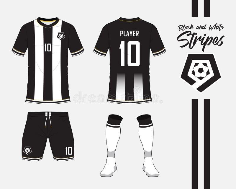 Fußballtrikot, Fußballausrüstungssammlung im Schwarzweiss-Streifenkonzept Vordere und hintere Ansichtfußballuniform Vektor lizenzfreie abbildung