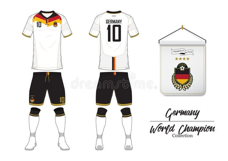 Fußballtrikot oder Fußballausrüstung Deutschland-Fußballnationalmannschaft Fußballlogo mit Hausflagge Vorder- und Rückseite Ansic lizenzfreie abbildung
