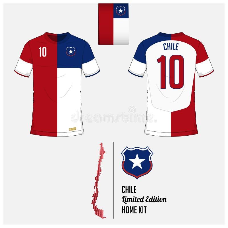 Fußballtrikot oder Fußballausrüstung, Schablone für nationales Fußball-Team Chiles Flaches Fußballlogo auf Chile-Flaggenaufkleber lizenzfreie abbildung