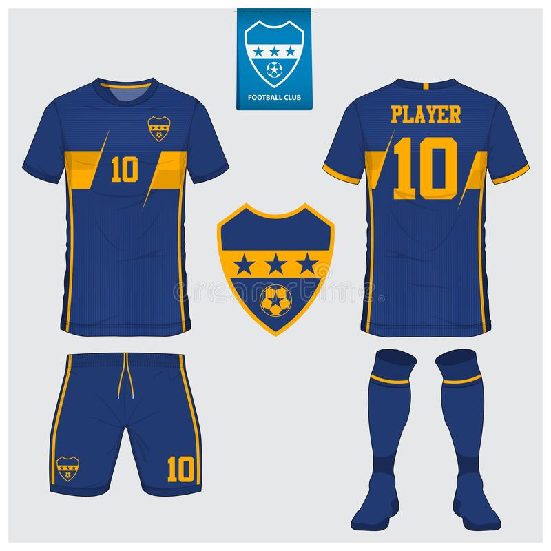 Fußballtrikot oder Fußballausrüstungsschablone für Fußballverein Fußball-Hemdspott des kurzen Ärmels oben Vordere und hintere Ans vektor abbildung