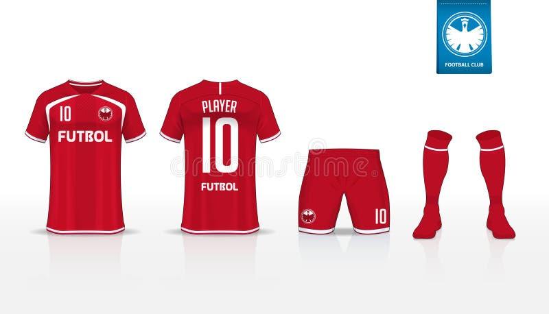 Fußballtrikot oder Fußballausrüstungst-shirt Sport, kurze Hosen, Sockenschablonenentwurf für Sportverein Flaches Fußballlogo auf  stock abbildung