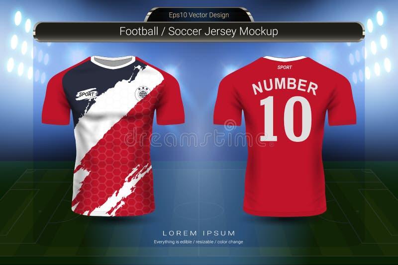 Fußballtrikot und T-Shirt tragen Modellschablone, Grafikdesign für Fußballausrüstung oder Activewearuniformen zur Schau lizenzfreie abbildung