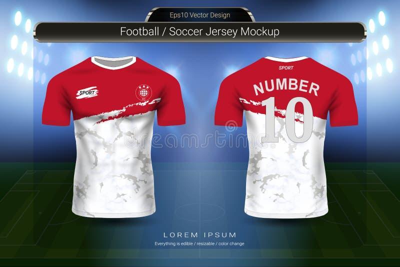 Fußballtrikot und T-Shirt tragen Modellschablone, Grafikdesign für Fußballausrüstung oder Activewearuniformen zur Schau stock abbildung