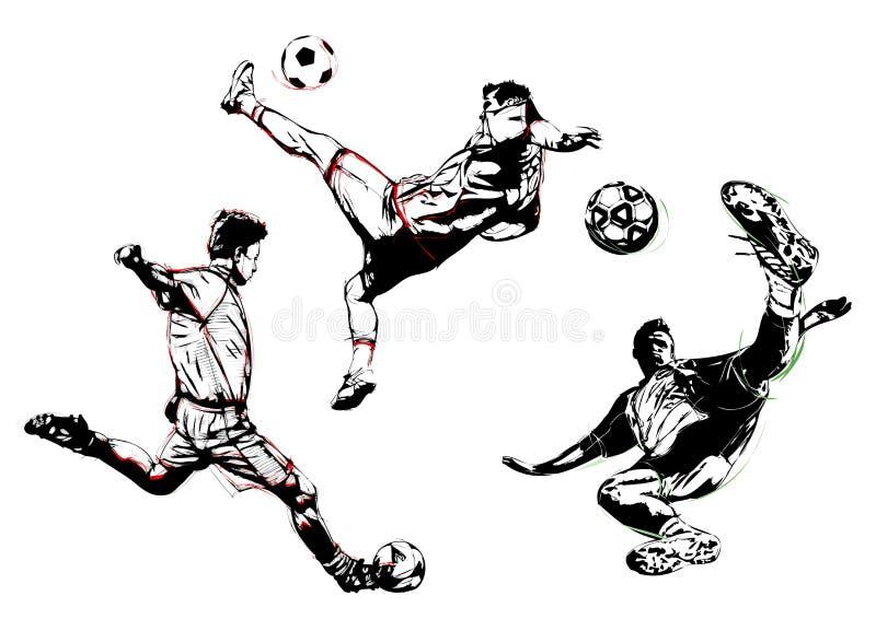 Fußballtrio lizenzfreie abbildung