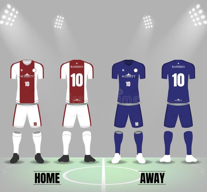 Fußballuniformen mit Socken und Schuhen Front- und Rückseitendesign lizenzfreie abbildung
