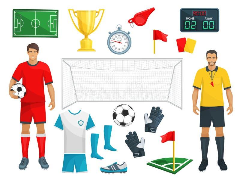 Fußballvektorikonen stellten vom Fußballsportspiel ein lizenzfreie abbildung