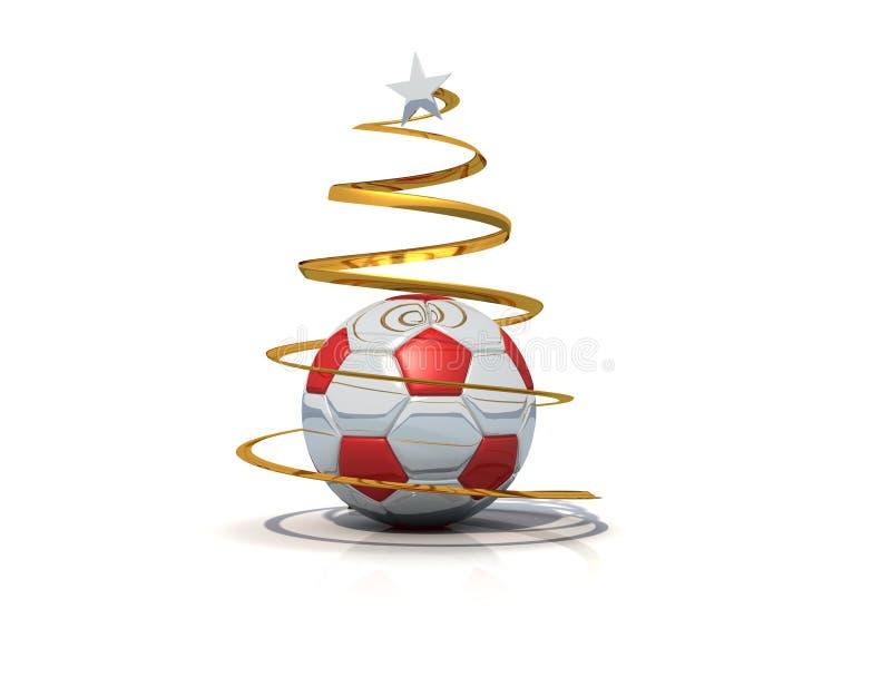 FußballWeihnachtsbaum getrennt stock abbildung
