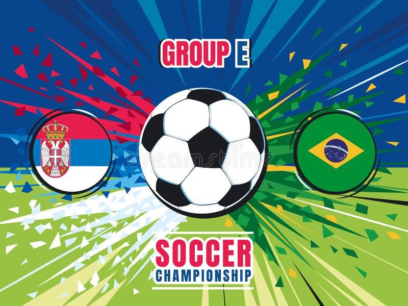 Fußballweltmeisterschaftsmatch-Spritzenschirm Serbien gegen Brasilien Gruppe E Mädchenlesezeitschrift auf dem sandigen Strand stock abbildung