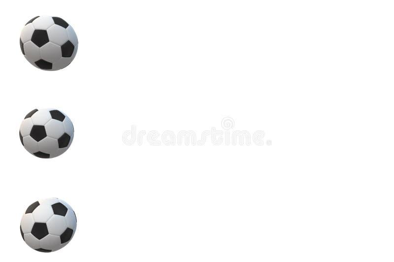 Fußballzeitbälle verfechten weiße schwarze Ergebnismatchgrünfußballballhintergrundtext-Sporterholung stock abbildung