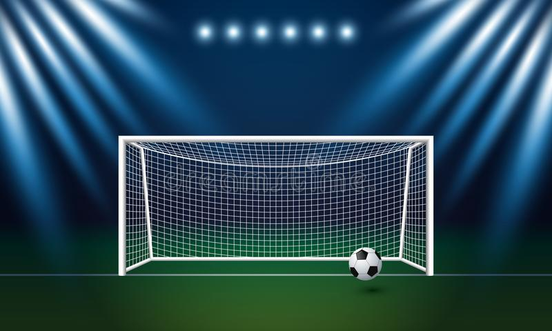 Fußballziel und -fußball mit Scheinwerferhintergrund im Stadion vektor abbildung