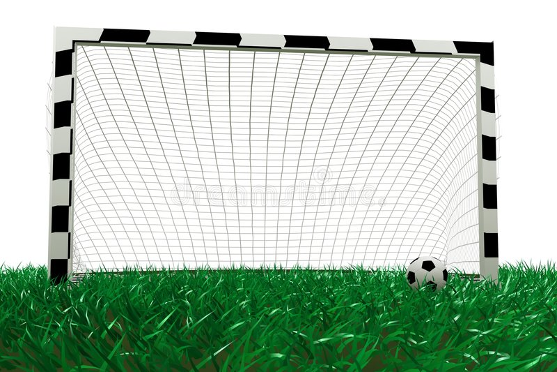 Fußballziel- Und -fußballkugel Stockfoto
