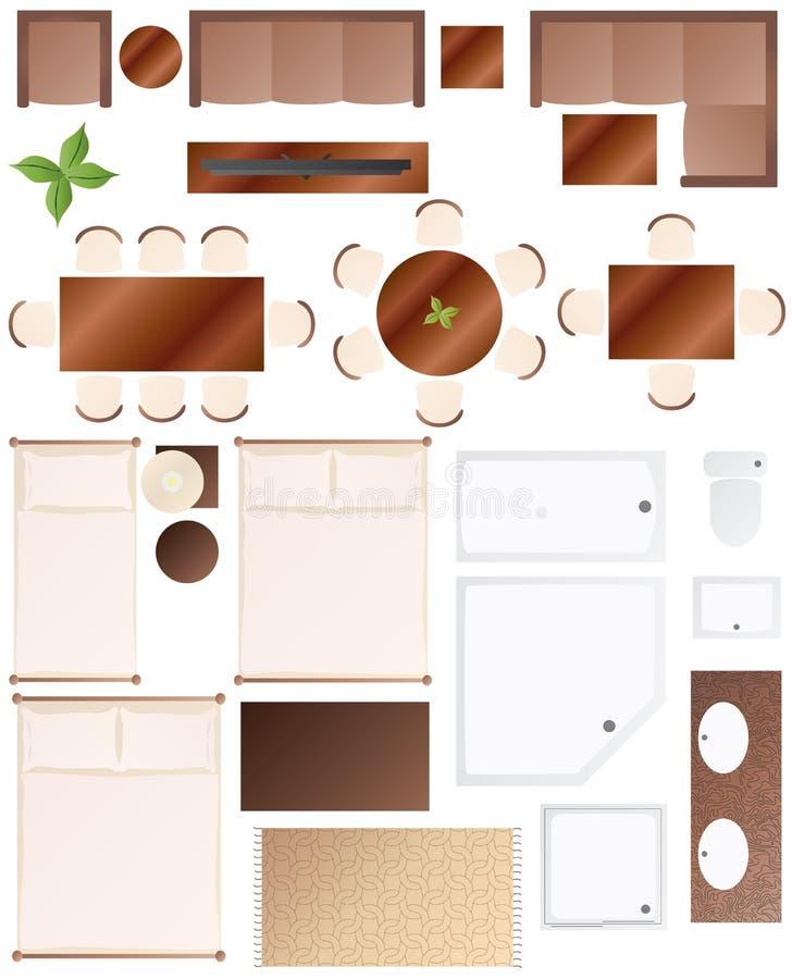 Fußboden-Plan-Möbel-Ansammlung stock abbildung