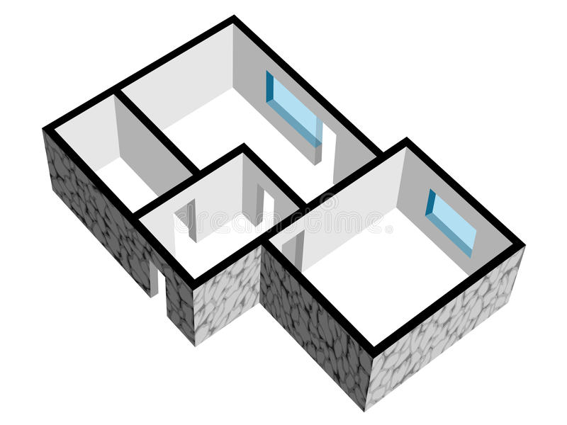 Fußbodenplan des Hauses 3d mit Steinbeschaffenheit stock abbildung