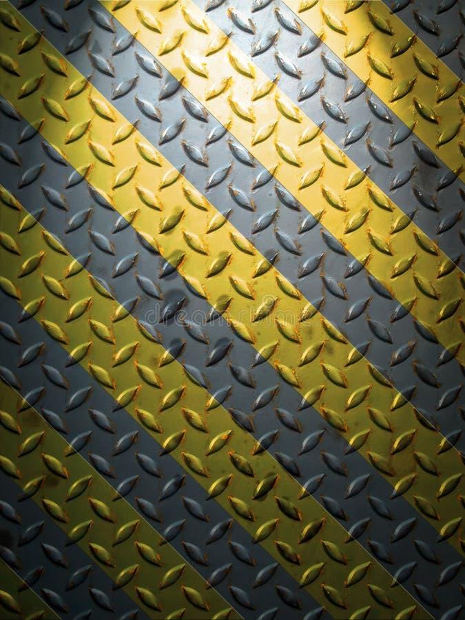 Fußbodenstahlplatte und gelbe Zeile lizenzfreie stockbilder