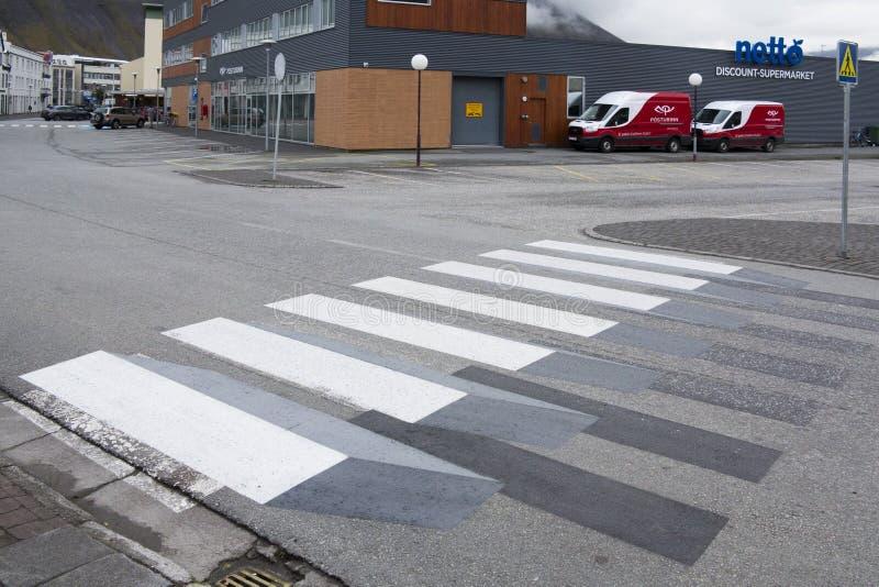 Fußgängerübergang 3d in Island lizenzfreie stockfotografie