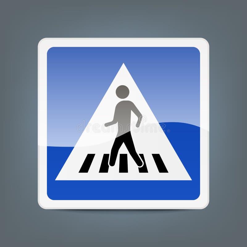 Fußgängerübergang des Verkehrszeichens lokalisiert auf Hintergrund Auch im corel abgehobenen Betrag vektor abbildung