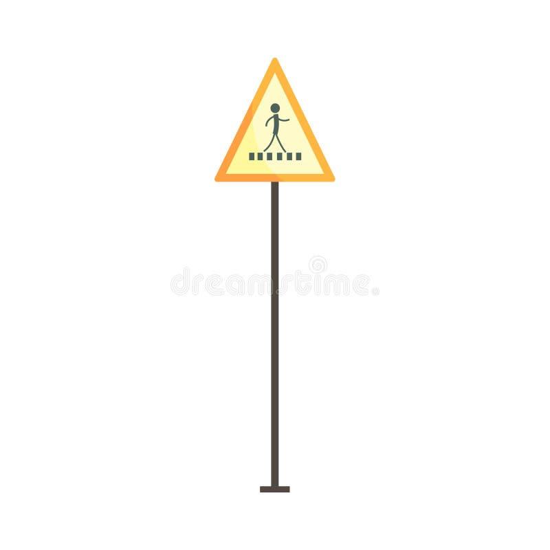 FußgängerübergangVerkehrszeichen-Vektor Illustration lizenzfreie abbildung