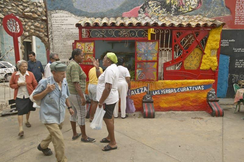 Fußgänger, die hinter den Kunst- und Musikbezirk Callejon de Hamel von Havana Cuba gehen stockfoto