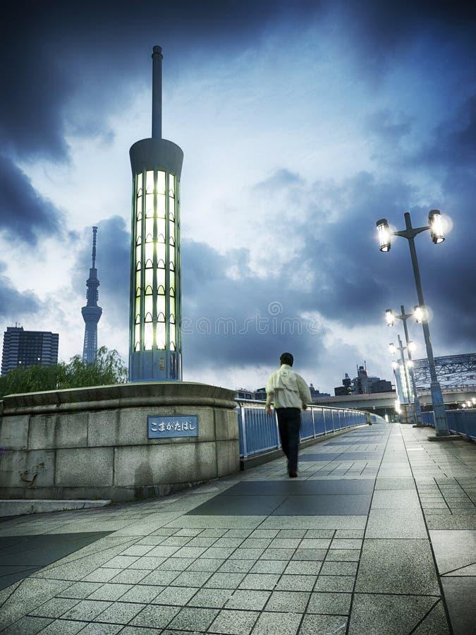 Fußgängerbrücke früher Morgen-Szene Sumida stockbild