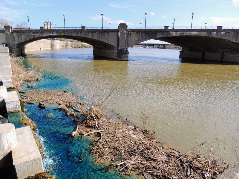 Fußgängerbrücke im White River Nationalpark Indianapolis Indiana mit dem schlammigen und klaren Mischen des blauen Wassers lizenzfreie stockfotografie