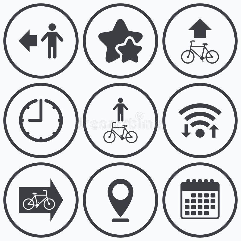 Fußgängerstraßenikone Fahrradwegwegweiser stock abbildung
