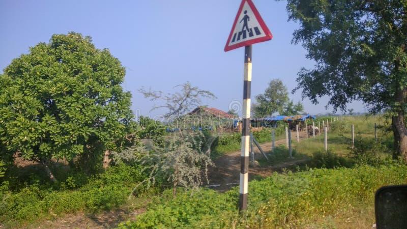 Fußgängerzebrastreifen Zeichen auf einer Landstraße lizenzfreie stockbilder