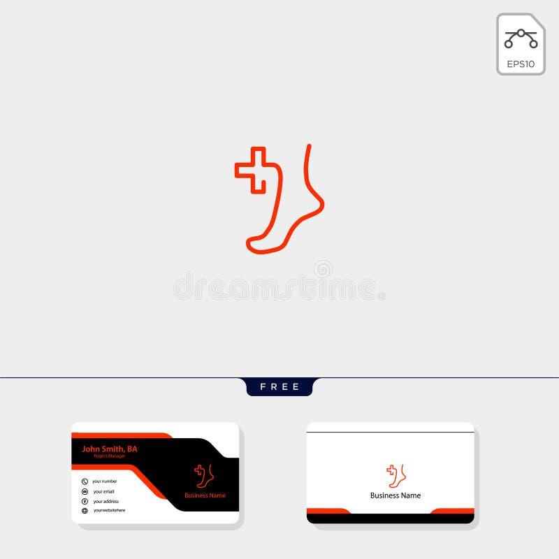 Fußheilung oder Medizinkonzeptlogoschablonenvektorillustration, freier Visitenkarteentwurf lizenzfreie abbildung