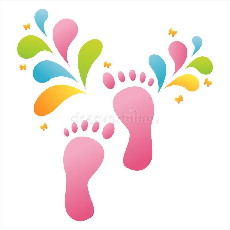 Fußjobsteps mit buntem Spritzen lizenzfreie abbildung