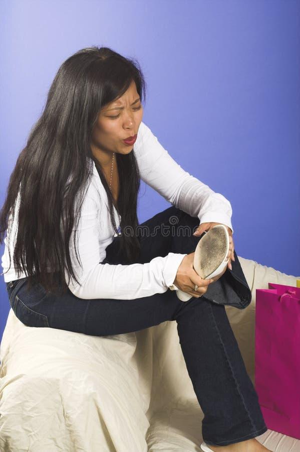 Fußschmerz stockfoto