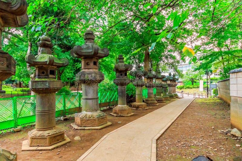Fußweg im Park mit Steinlaternen der japanischen Art stockfoto