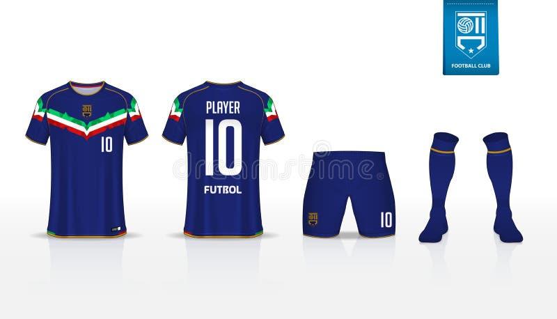 Fußballausrüstung oder Fußballtrikotschablone für Fußballverein Fußball-Hemdspott des kurzen Ärmels oben Vordere und hintere Ansi vektor abbildung