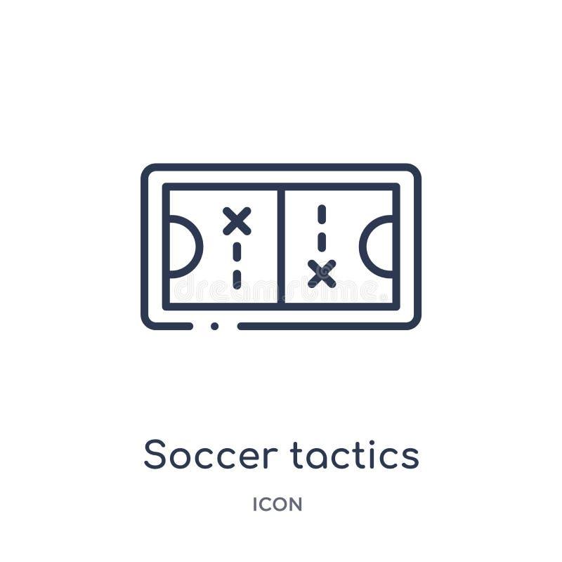 Fußballtaktiken stellen Ikone von der Produktivitätsentwurfssammlung grafisch dar Dünne Linie Fußballtaktiken stellen die Ikone g lizenzfreie abbildung