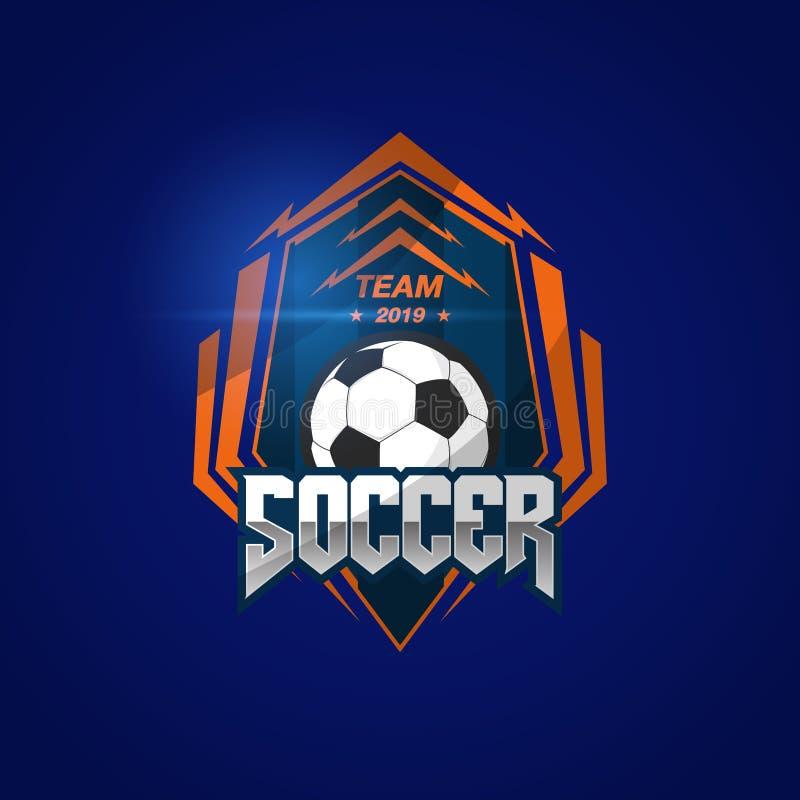 Fu?ball-Fu?ball-Ausweis Logo Design Templates   Sport Team Identity Vector Illustrations lokalisiert auf blauem Hintergrund stock abbildung
