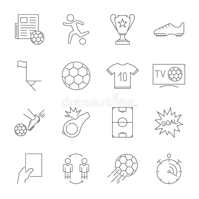 Fu?ball-Ikonen eingestellt Editable Anschlag lizenzfreie abbildung
