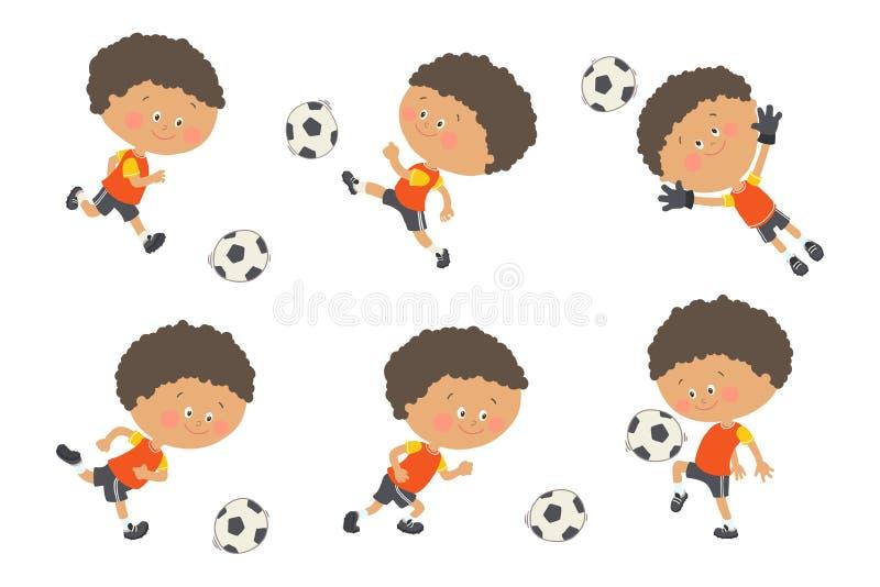 Fu?ballkindersatz Netter Junge, der Fußball in der gelben und schwarzen Sportuniform spielt Torh?ter, der einen Fu?ball f?ngt kar stock abbildung