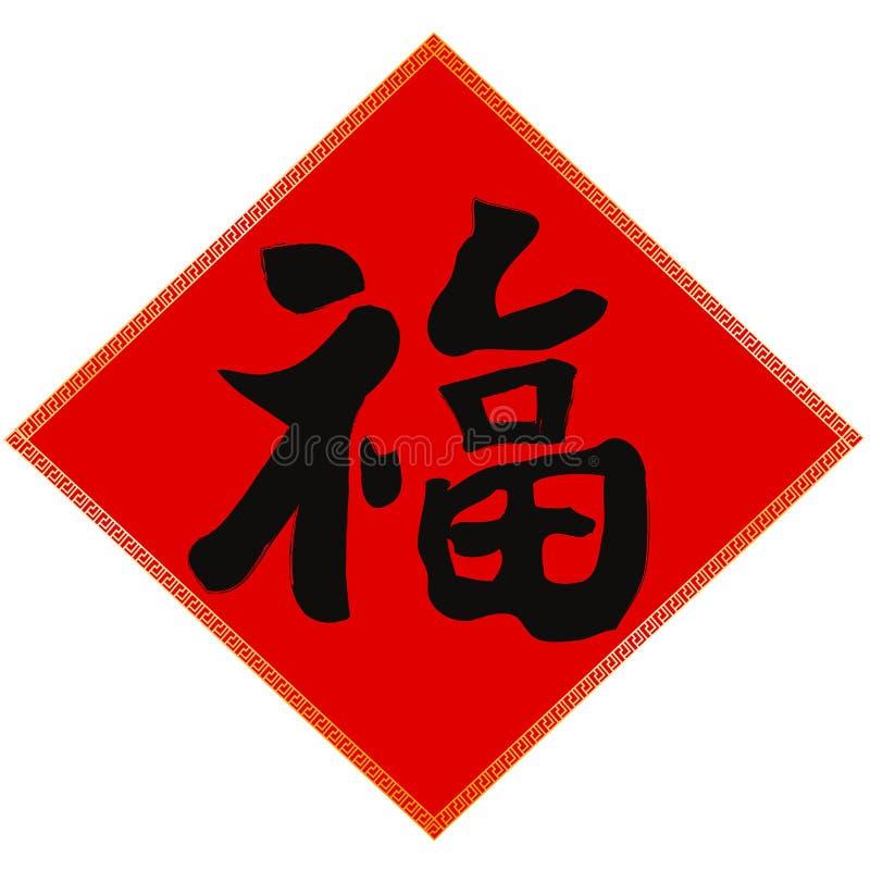 Fu-fortuna chinesa da decoração do ano novo ilustração do vetor