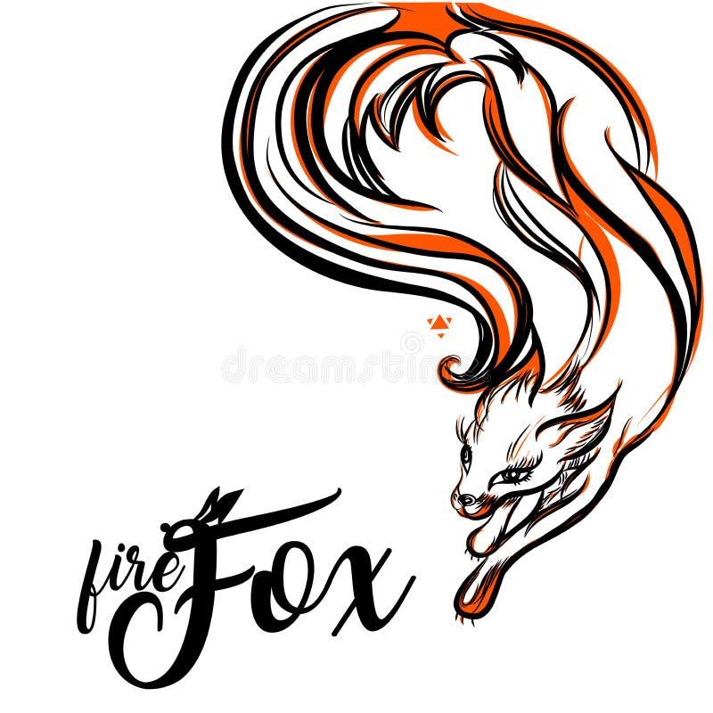 fuchs Vektor-Logo mit negativem Raum Lakonisches Symbol für Ikonen, Logos, Ausweise und Embleme vektor abbildung