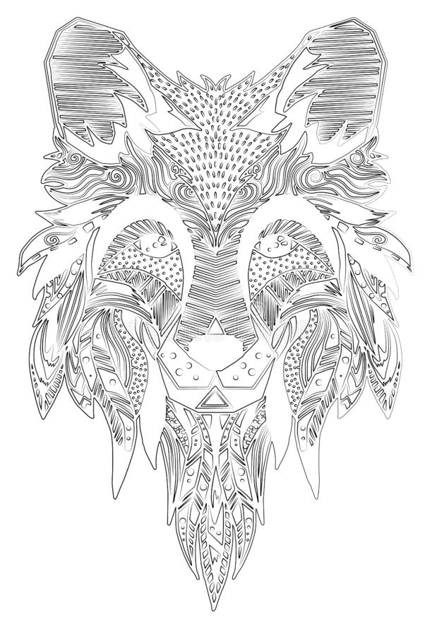 fuchs Von Hand gezeichnet mit ethnischem Blumengekritzelmuster Farbtonseite - zendala, Design für geistiges Entspannung für Erwac stock abbildung