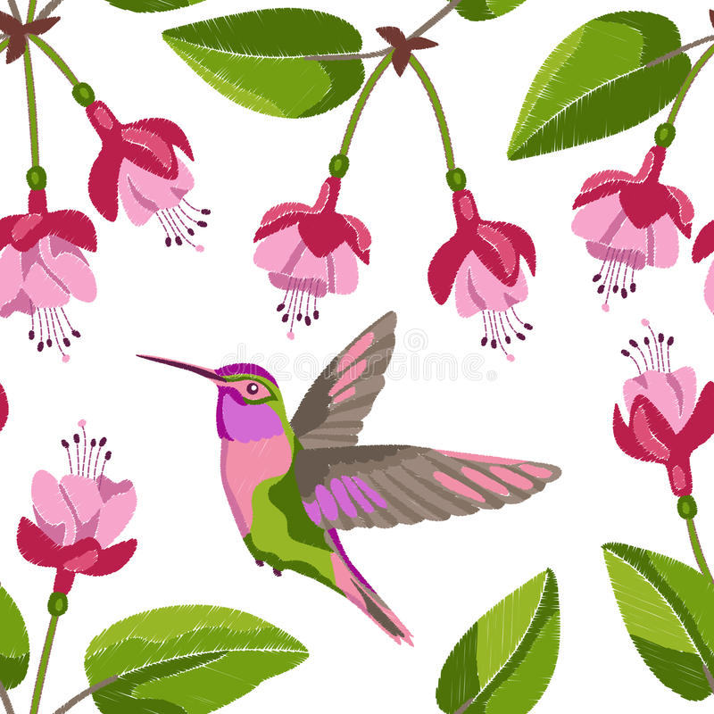 Pink Fuchsia And Hummingbird Embroidery Seamless Pattern On White Background Romantic Floral Wallpaper Textile Print