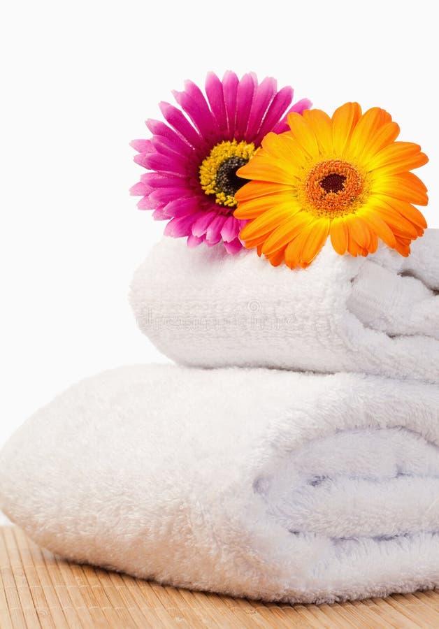 Fuchsia and orange sunflovers on white towels royalty free stock photo