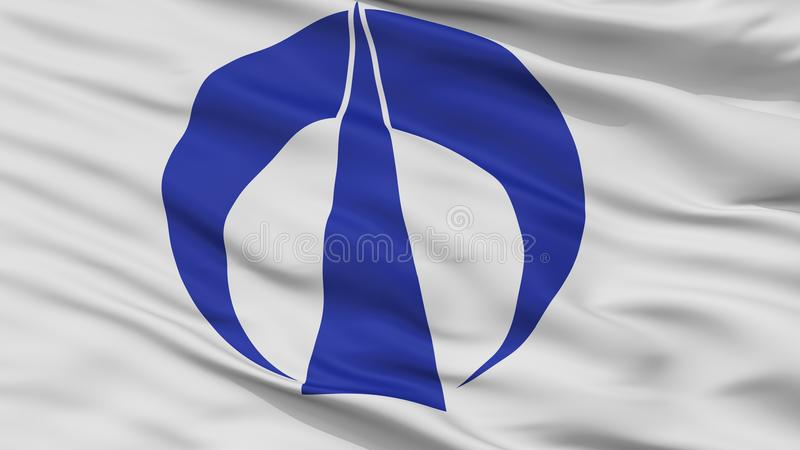 Fuchu City Flag, Japan, Hiroshima Prefecture, Closeup View. Fuchu City Flag, Country Japan, Hiroshima Prefecture, Closeup View royalty free illustration