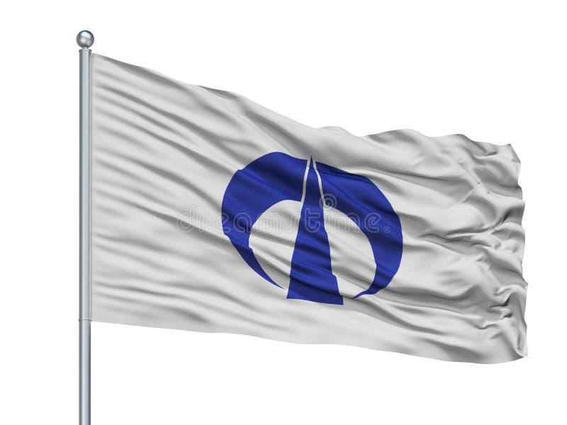 Fuchu City Flag On Flagpole, Japan, Hiroshima Prefecture, Isolated On White Background. Fuchu City Flag On Flagpole, Country Japan, Hiroshima Prefecture vector illustration