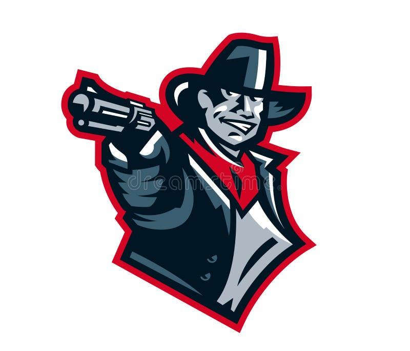 Fucilazione del cowboy di logo da un revolver Ovest selvaggio, banditi, sceriffo, crimine Mascotte, autoadesivo, emblema Identità illustrazione di stock