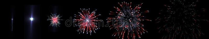 Fucilazione del fuoco d'artificio di sequenza fotografia stock libera da diritti