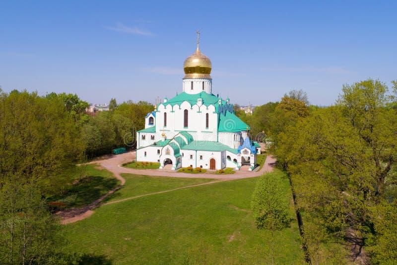 Fucilazione della cattedrale di Fedorovsky da un quadcopter Tsarskoye Selo immagini stock libere da diritti